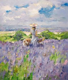 Watercolor Landscape, Landscape Art, Watercolor Paintings, Nature Paintings, Beautiful Paintings, Lavendar Painting, Art Themes, Painting Inspiration, Art Projects