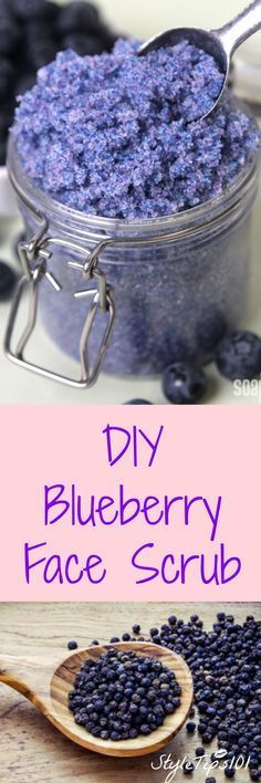 Blueberry Scrub For Face & Body cup coconut oil 1 cup white sugar 1 tbsp frozen blueberries lemon essential oil blue food coloring cup coconut oil 1 cup white sugar 1 tbsp frozen blueberries lemon essential oil blue food coloring (optional) Sugar Scrub Recipe, Sugar Scrub Diy, Sugar Scrubs, Salt Scrubs, Diy Body Scrub, Diy Scrub, Bath Scrub, Homemade Scrub, Homemade Beauty Products