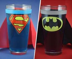 Put a cellophane treat bag in the glass, fill with goodies and tie with a ribbon; kids can remove the goodie bag and use the glass for their party punch.  Superhero Caped Glasses