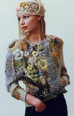 Crochet Patterns Sweter Embroidery on knitwear from Nadezhda Voronova – … Freeform Crochet, Irish Crochet, Knit Crochet, Knitting Designs, Knitting Patterns, Crochet Patterns, Knitting Wool, Knitwear Fashion, Crochet Fashion