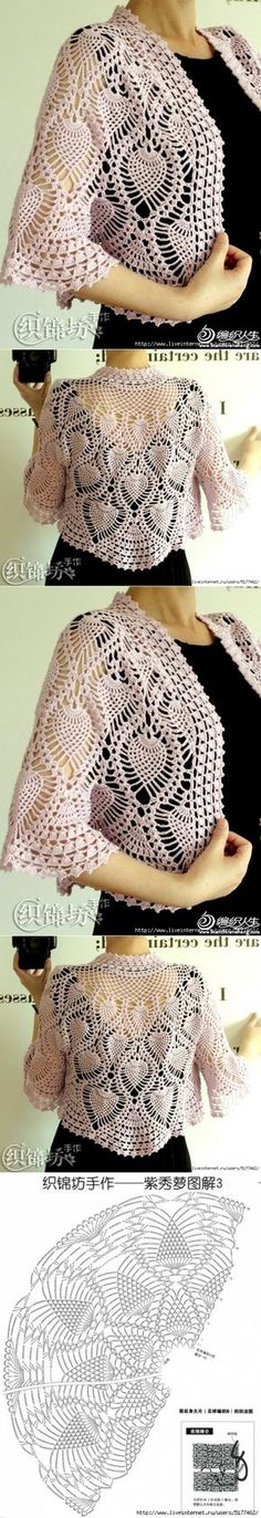 This Pin was discovered by Rac Crochet Cape, Crochet Jacket, Crochet Cardigan, Crochet Shawl, Knit Crochet, Pineapple Design, Pineapple Crochet, Jacket Pattern, Crochet Fashion