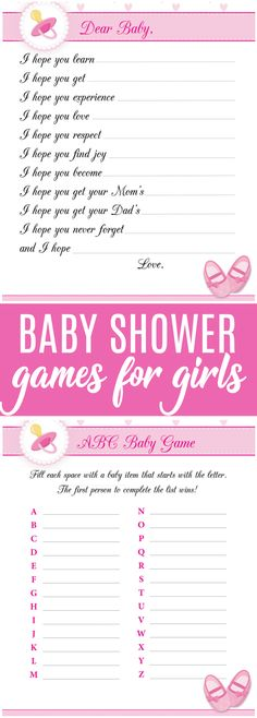 Download these 8 free printable baby shower games for girls. This package includes everything you need to enjoy these fun games and make the baby shower for mom to be one to remember.