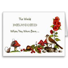 Birthday, Nature, Mushrooms, Bird, Mice, Flowers: Freehand Art: Greeting Card