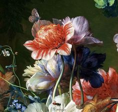 Jan van Huysum (1682-1749) Bouquet of Flowers in an Urn (detail) 1724 Oil on panel. LACMA (Лос-Анжелес)