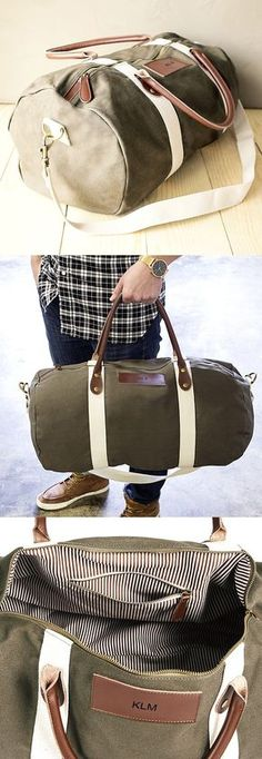 Groomsman Gift Idea - Give your best man and groomsmen a leather accented canvas duffle bag personalized with their monogram or single initial for a gift they can use every day for travel, the gym, sports, or play. Use each duffle bag as a gift basket to hold other gift items for each of your wedding attendants to discover when they open their bag. This military green duffle bag is rugged and built to carry whatever a guy can throw into it.
