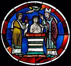 English: Scene of baptism. Stained glass, Paris, last quarter of the century. From the Sainte-Chapelle of Paris. Sainte Chapelle Paris, Saint Chapelle, St Patrick Facts, Catholic Beliefs, Christianity, Museum Art Gallery, Crystal Shapes, Crown Of Thorns, I Saw The Light
