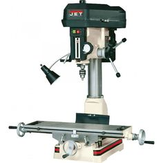Mill drills are a lighter alternative to a milling machine. These combine a belt driven drill press with the dual coordinate abilities of the milling machine's table for flexibility and efficiency. A…MoreMore Rockler Woodworking, Woodworking Tools, Lathe Tools, Work Lamp, Drilling Machine, Drill Press, Machine Tools, Cnc Machine, Mortising Machine