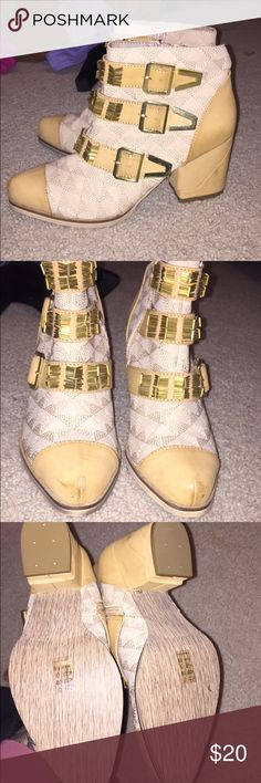 Gold buckle ankle boots Only worn once. Size 8.5. Bought off 6pm Michael Antonio Shoes Ankle Boots & Booties