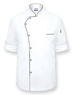 GINO Chef Coat Style: NC-GINO • White Poly/Cotton lightweight twill fabric • Roll up sleeves with matte silver button tabs • 6 Matte silver snap button closure • Black trim on collar, front pa Chef Dress, Restaurant Uniforms, Uniform Design, African Men Fashion, Mens Fashion Suits, Boys Shirts, Mens Sweatshirts, Shirt Style, Chef Jackets