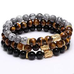 Tiger Eye Stone Buddha Charm Bracelets