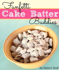 Chex Funfetti Cake Batter Buddies from sixsistersstuff.com.  Only ten minutes and a few ingredients to make this AMAZING treat! #funfetti #cakemix #snacks