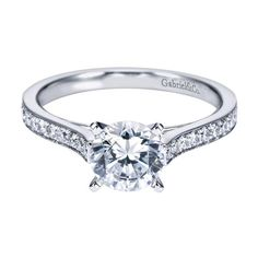 14K White Gold 1.28cttw Classic Cathedral Style Bead Set Round Diamond Engagement Ring