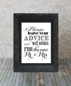Well Wishes and Advice Table Sign.  Mr. & Mrs., Bride and Groom Sign, 8 X 10 inches. Instant Download, Wedding Card DIY Printable File.