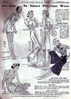 Smart playtime wear (1938-39).