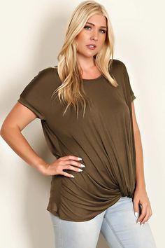 Plus Size side knot design olive green top.  Easy to wear, flattering shape and tucks and folds in all the right places.  Outfit inspiration  Laney Lu's Boutique
