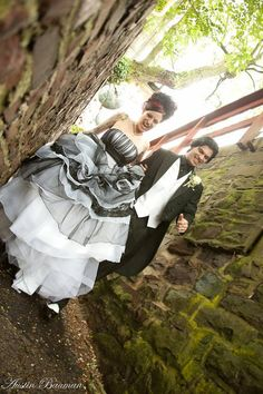 Gothic Wedding Dress by WeddingDressFantasy on Etsy, with an antique-y warm gray instead of black maybe?