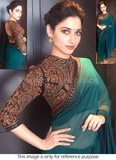 Bollywood Actress Tamanna Bhatia Georgette Saree in Teal Green color