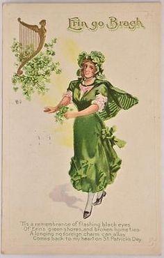 1912 Embossed Postcard St Patricks Day Erin Go Bragh Philadelphia PA Postmark