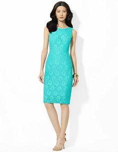 LAUREN RALPH LAUREN Crocheted Cotton Sheath Dress - TURQUOISE - 14 - Fashion