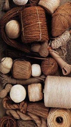 Brown, cream, beige yarn and thread for sewing