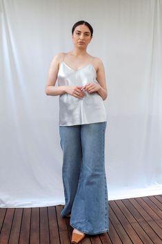 Cicely Silk Camisole Red Silk, Paige Denim, White Tees, Size Model, Blue Denim, Bell Bottom Jeans, Camisole, Slim, Blazer