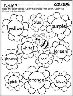 Free flower color words worksheet. Great for the spring. by chasity