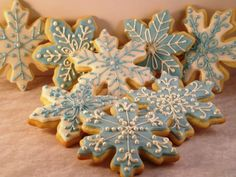 #frozen #theme #party 12 Medium Snowflake Cookies by MySweetFAVORites on Etsy, $18.00