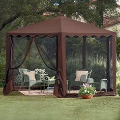 New Steel Framed Waterproof Hexagon Screened Gazebo Tent Outdoor Patio Room & 10x10 Gazebo Canopy Tent Garden Patio Umbrella Frame Screen House ...