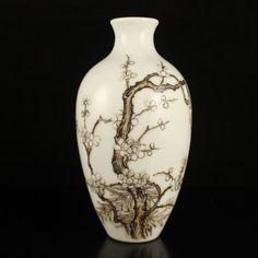 Chinese Ink Color Porcelain Vase w Yongzheng Mark