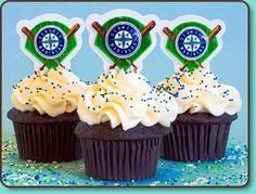 Mariners Baseball Cupcakes