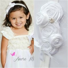 White rolled rosette headband with a bird net and rhinestone Blessing Christening headband Flower Girl Price: $11.99 Tot Shot Boutique