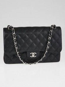 Chanel Black Quilted Caviar Leather Classic Jumbo Double Flap Bag