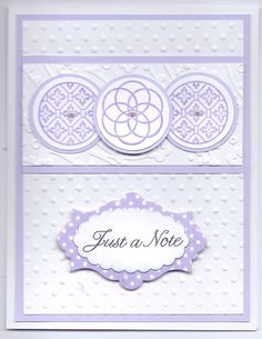 SU Circle Circus stamp set, cuttlebug embossing folders,  Sentiment from Flourishes, SU Apothocary Accents die, SU scalloped oval punch stick on pearls, lavendar, polka dot paper from Bearly Mine Designs.  Card Layout by http://images.splitcoaststampers.com/data/gallery/17298/2009/12/11/IMG_1559_by_TrudyW.JPG