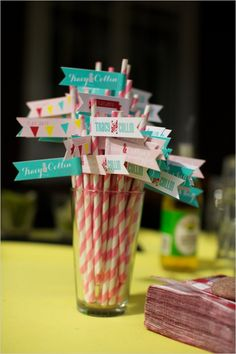 straw tags for carnival themed wedding #themedwedding #diy #weddingchicks http://www.weddingchicks.com/2014/02/04/country-fair-wedding/
