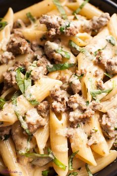 Creamy, Cheesy Sausage and Basil Penne Sausage Meals, Sausage Pasta Recipes, Sweet Sausage Recipes, Cheesy Sausage Pasta, Pork Recipes, Cheesy Pasta Recipes, Sausage Recipes For Dinner, Penne Pasta Recipes, Basil Recipes