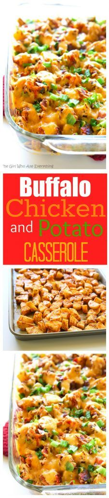 Buffalo Chicken and Potato Casserole - great for game day or just for dinner! the-girl-who-ate-everything.com