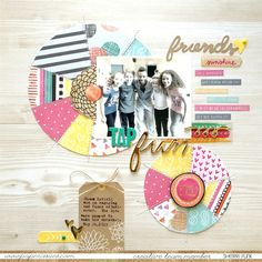 Growing up in: Faith, Love & Scrapphappiness: Tap Fun *Paper Issues* - love the patterned pie charts! Online Scrapbook, Scrapbook Supplies, Scrapbooking Ideas, Scrapbook Layouts, Amy Tangerine, Friendship Cards, Layout Inspiration, Paper Goods, Growing Up