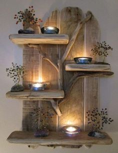 driftwood candle shelf: