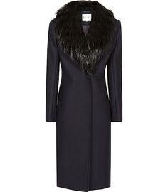Reiss Paloma Faux Fur Collar Coat | Clothing
