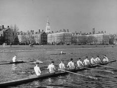 Crew Rowing on Charles River across from Harvard University Campus    By Alfred Eisenstaedt-  when I was a kid I wanted to go to college JUST so I could do this. I must have seen a movie?