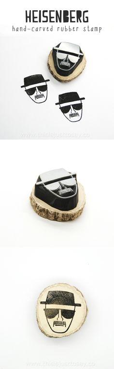 Breaking Bad: Heisenberg Rubber Stamp. Limited time offer: $20 including worldwide shipping. Hand carved in Stockholm, Sweden.