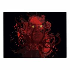 Kess InHouse Frederic Levy-Hadida Miskatoninked Red Black 26 Round Floor Pillow