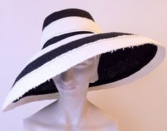Black and white stripe wide brim straw hat  by annedepasquale