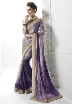 Buy Shaded Purple and Grey Art Silk Saree with Blouse online, work: Embroidered, color: Grey / Purple, usage: Party, category: Sarees, fabric: Art Silk, price: $111.20, item code: SWS4878, gender: women, brand: Utsav