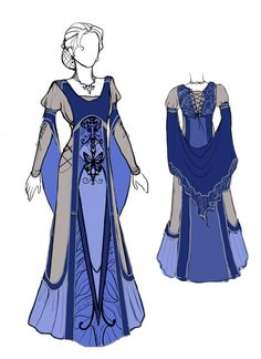 Blue dress design by EulaliaDanae on deviantART. This looks like a dress that a tomboy/assassin would wear and would complain about how she couldn't move her arms. Pretty Dresses, Blue Dresses, Beautiful Dresses, Prom Dresses, Dress Drawing, Drawing Clothes, Larp, Kleidung Design, Mode Costume