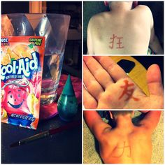 "DIY Kool Aid and Food Coloring Tattoo. Instructions: 1 packet orange Kool-Aid, 1 drop green food coloring, 1 cup water. Paint on, let sit for 1 minute, pat dry. Lasts over a week! So I could ""trial-run"" a tattoo!."