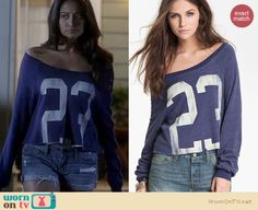 "Emily's blue cropped ""23″ off shoulder sweater on Pretty Little Liars.  Outfit details: http://wornontv.net/16242/"