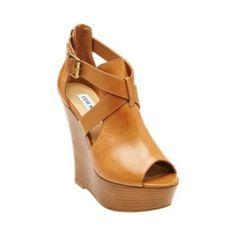 WHYNOTME COGNAC LEATHER women's sandal high wedge - Steve Madden
