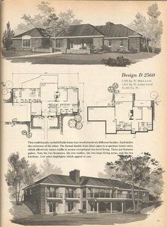 Vintage House Plans, Mid Century Homes Design D 2560