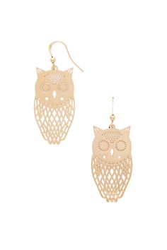 Owl Cutout Drop Earrings